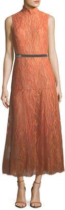 J. Mendel Sleeveless Beaded Turtleneck Lace Dress