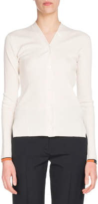 Proenza Schouler V-Neck Button-Front Long-Sleeve Cashmere Cardigan Sweater