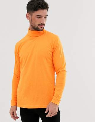 Brave Soul jersey roll neck in neon in orange