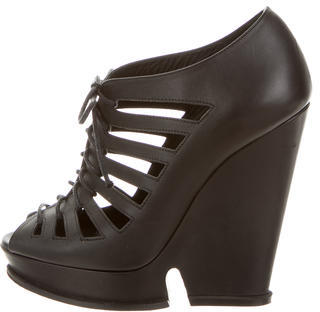 Saint Laurent Yves Saint Laurent Leather Cage Wedges