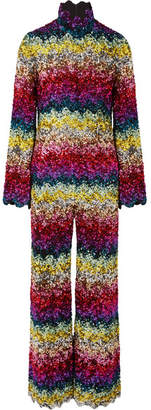 Ashish Scalloped Sequined Silk-georgette Jumpsuit - Pink
