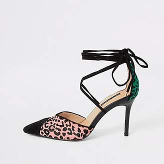 River Island Pink leopard print leather strappy court shoe