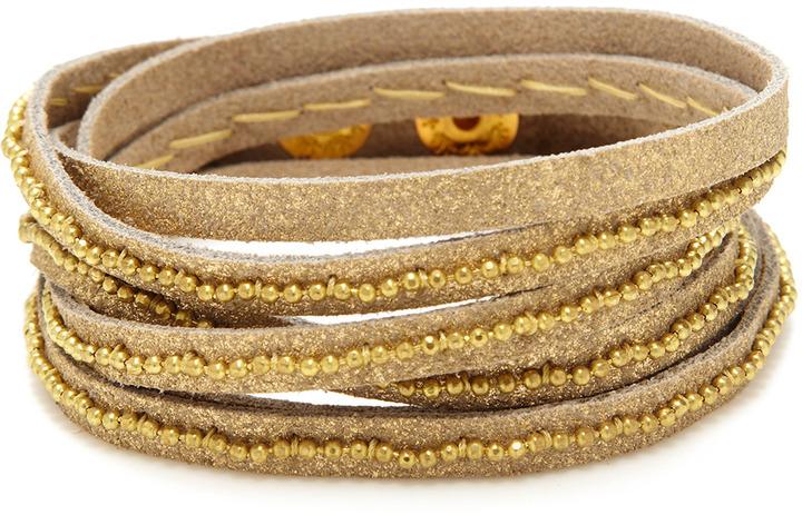 Presh Leather Beaded Wrap Bracelet