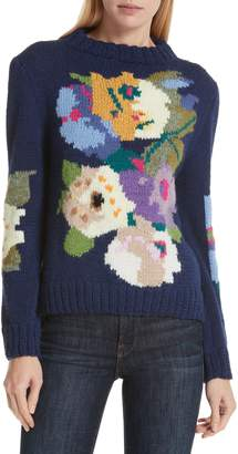 Smythe x Augden Hand Knit Floral Intarsia Wool Sweater