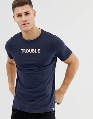 Jack and Jones Originals T-Shirt With Trouble Slogan