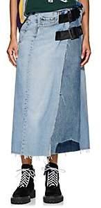 Needles Women's Buckle Denim Wrap Skirt - Blue