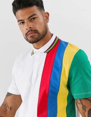 Asos Design DESIGN polo shirt with rainbow colour block and tipping