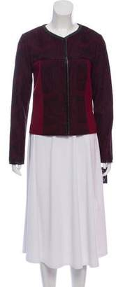 Magaschoni Lace-Trimmed Long Sleeve Jacket