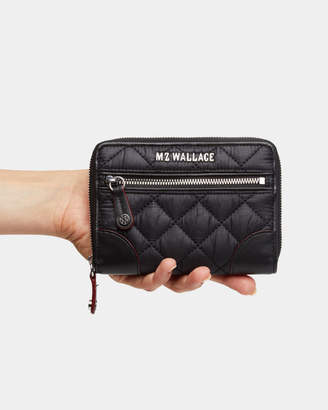 MZ Wallace Black with Silver Hardware Crosby Small Wallet