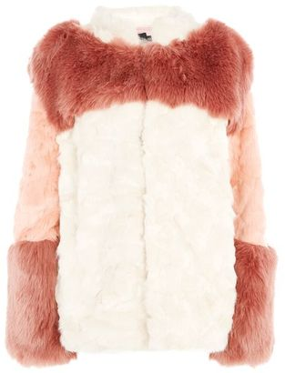 Story of lola Colour block faux fur coat