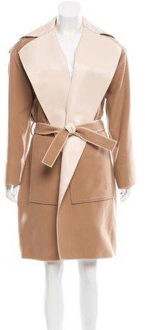 Balenciaga Balenciaga Leather-Trimmed Wrap Coat w/ Tags