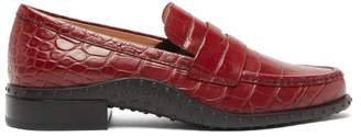 Tod's Gommini Crocodile Embossed Leather Penny Loafers - Womens - Red