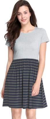 Allegra K Women's Striped Short Sleeves Color Block Above Knee Dress XS Grey