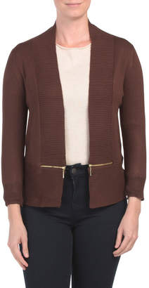 Open Front Cardigan With Exposed Zipper