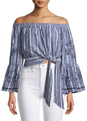 Parker Georgina Off-the-Shoulder Tie-Side Cropped Striped Blouse