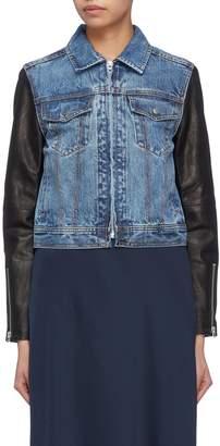 Rag & Bone 'Nico' leather sleeve denim jacket