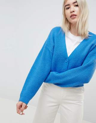 Asos Design DESIGN eco cropped cardigan in fluffy yarn with buttons