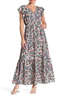 ECI Floral Flutter Sleeve Maxi Dress