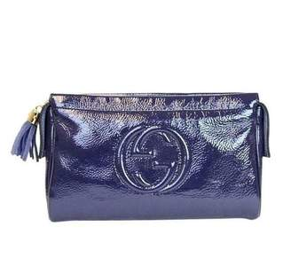Gucci Soho Navy Patent leather Clutch bags