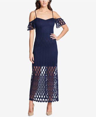 GUESS Cold-Shoulder Lace Maxi Dress