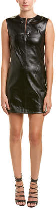 Helmut Lang Safety Pin Silk-Lined Leather Shift Dress
