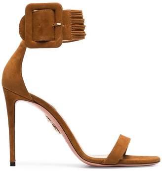 Aquazzura Brown Casablanca 110 Suede Sandals
