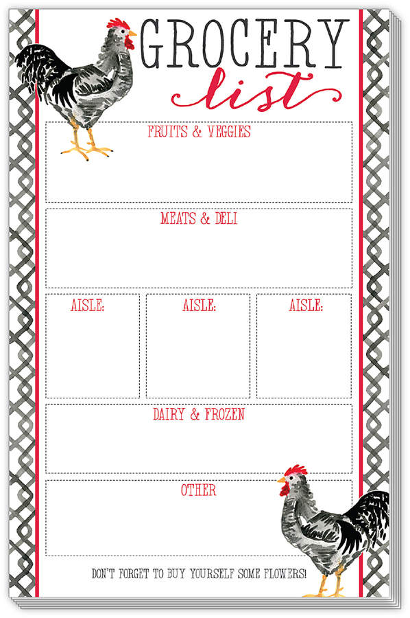 Rooster 'Grocery List' Notepad