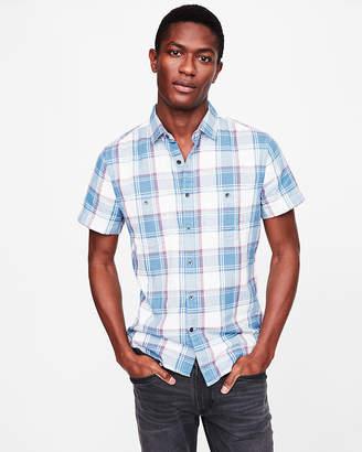 Express Slim Plaid Short Sleeve Double Weave Shirt