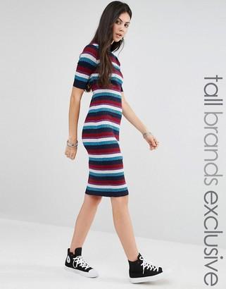 Glamorous Tall Striped Rib Knitted Midi Dress $58 thestylecure.com