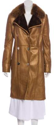 Gianni Versace Leather Fur-Trimmed Coat