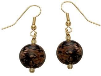 Valentina Genuine Murano Glass Black and Aventurine Disc Earrings of 4.2cm