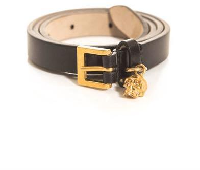 Alexander McQueen Skull charm leather belt