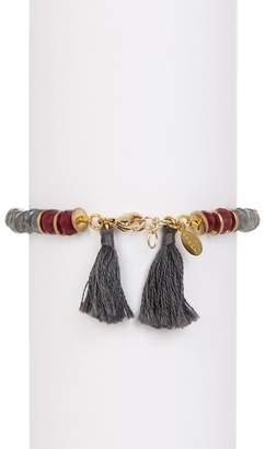 Shashi 18K Gold Vermeil Joni Faceted Beaded Labradorite & Tassel Bracelet