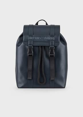 Emporio Armani Backpack In Regenerated Leather With Embossed Logo