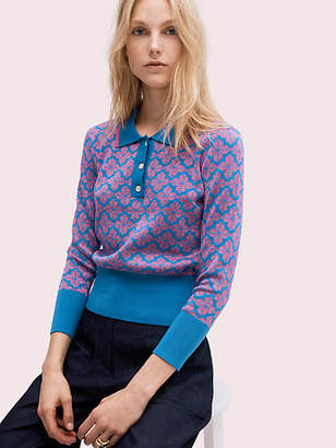 Kate Spade Spade Flower Polo Sweater, Vibrant Blue - Size L
