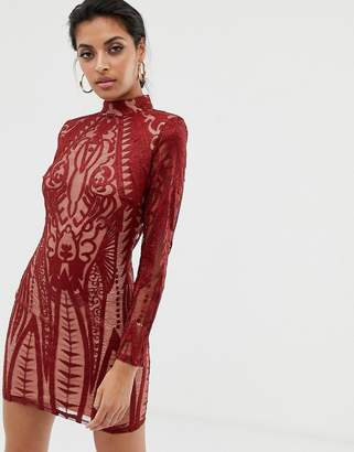 Missguided lace panelled bodycon dress