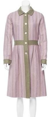 Bill Blass Striped Long Coat olive Striped Long Coat