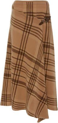 Ralph Lauren Wrap-Effect Asymmetric Checked Wool Midi Skirt Size: S