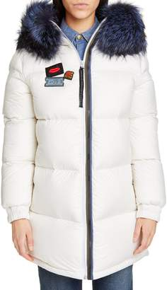 Mr & Mrs Italy Reversible Waterproof Down Parka with Removable Genuine Fox Fur Trim