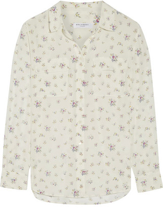 Equipment - Slim Signature Floral-print Washed-silk Shirt - White $260 thestylecure.com