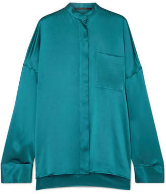 Haider Ackermann Oversized Silk-charmeuse Shirt - Turquoise