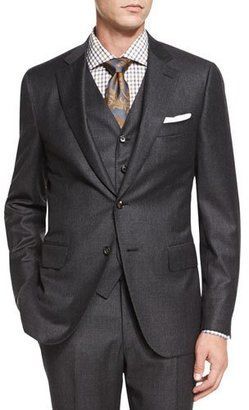 Isaia Micro-Check Three-Piece Suit, Dark Gray $4,295 thestylecure.com