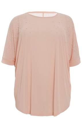 Quiz Curve Blush Pink Pearl Embellished Top