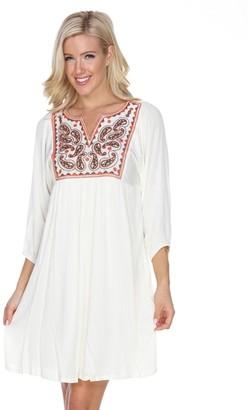 Women's White Mark Embroidered Babydoll Dress