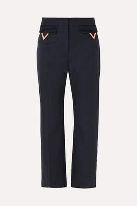 Valentino Cropped Wool-gabardine Straight-leg Pants - Navy