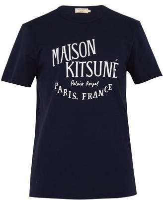 MAISON KITSUNÉ Logo Print Cotton T Shirt - Mens - Navy