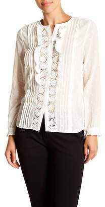 Rebecca Taylor Long Sleeve Eyelet Lace Trim Blouse