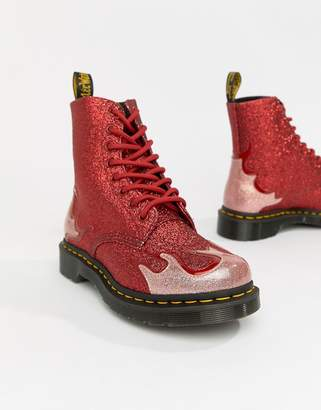 Dr. Martens 1460 Pascal Red Glitter Flame Flat Ankle Boots