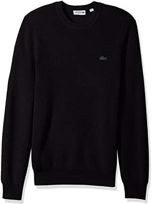 Lacoste Men's Wool Half Cardigan Rib Sweater with Fancy Stitch