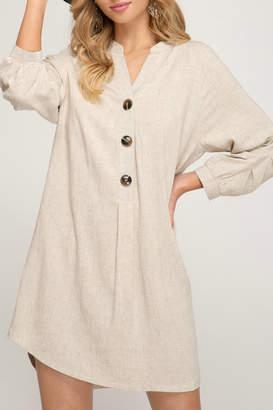 She & Sky Button down shirt dress